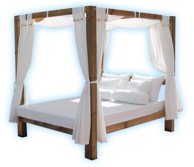 Camas de exterior dormitorio doble con camas y salida al for Camas balinesas para jardin